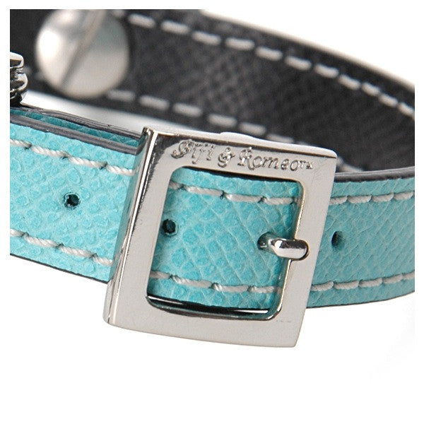 Aqua & Black Leather Collar - Fifi & Romeo