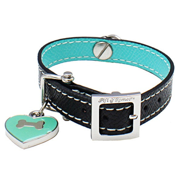 Black & Aqua Leather Collar - Fifi & Romeo