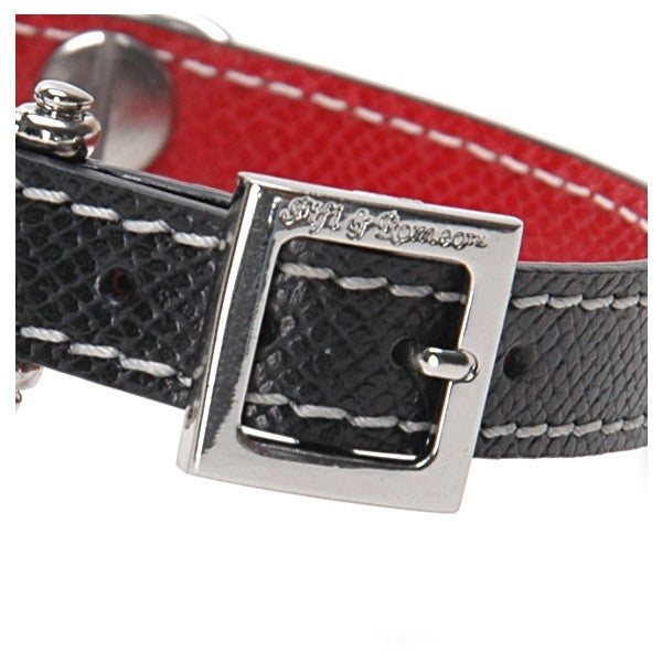 Black & Red Leather Collar - Fifi & Romeo