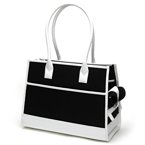 Black Wool & White Leather Tote - Fifi & Romeo