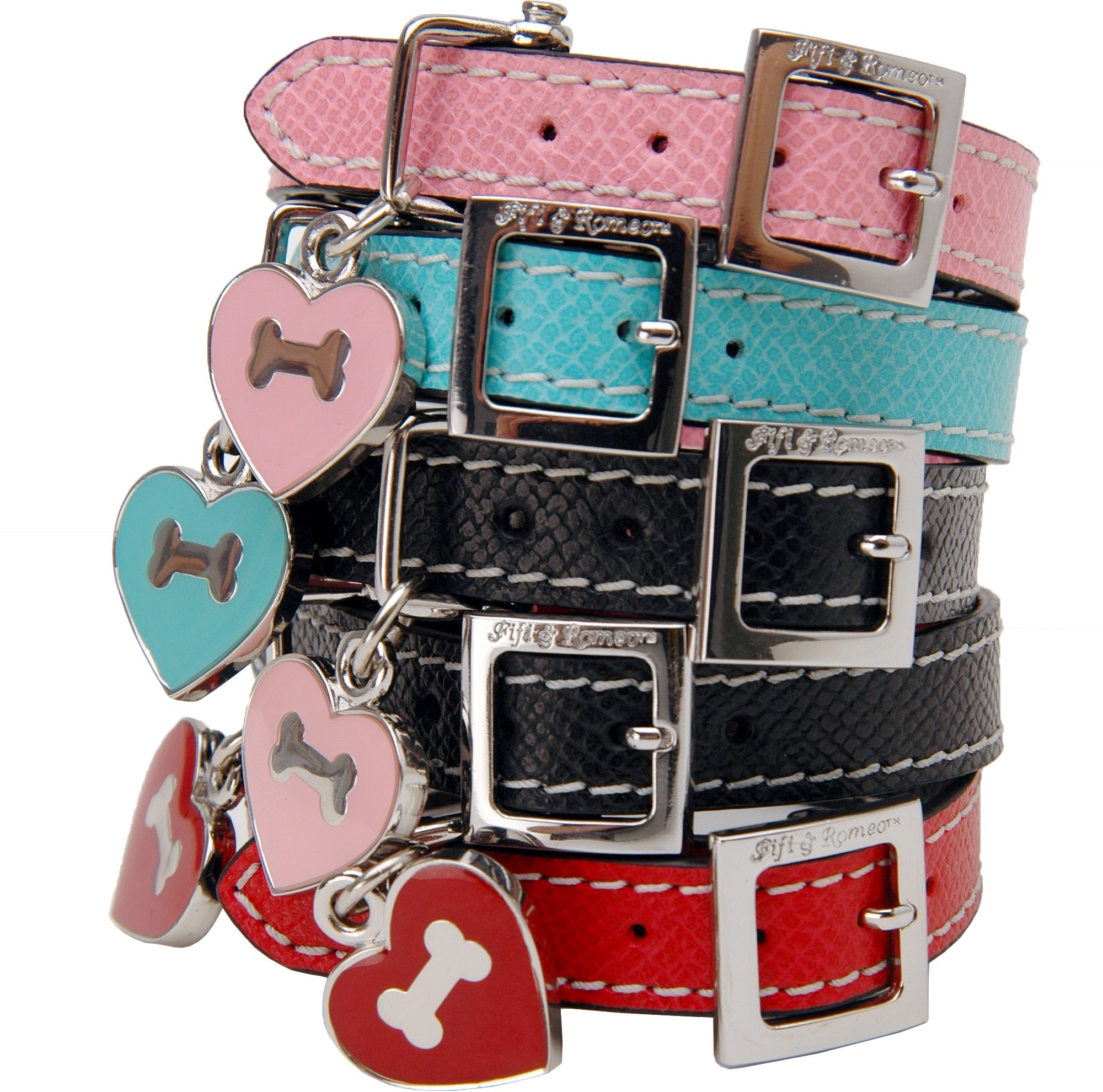 Black & Pink Leather Collar - Fifi & Romeo