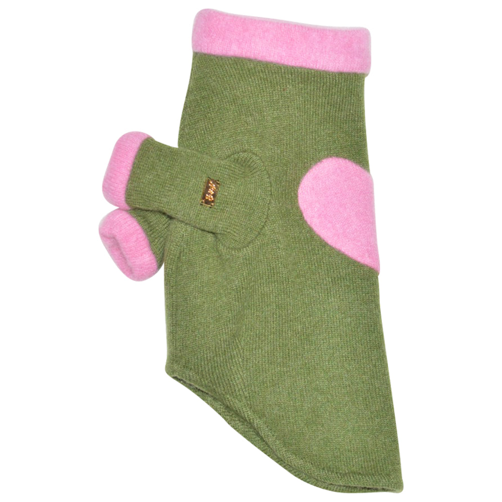 Heart Sweater - Green & Pink - Fifi & Romeo