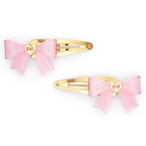 Small Bow Hair Clip Set - Pink