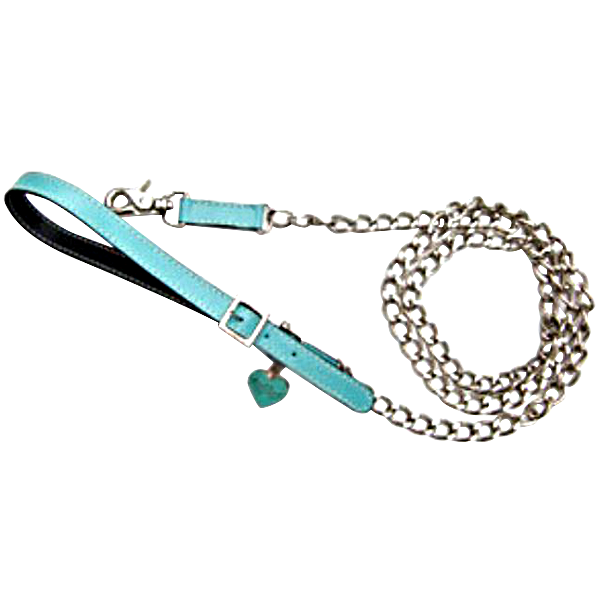Aqua & Black Leather Leash - Fifi & Romeo