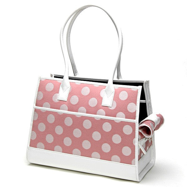 Pink Polka Dot Wool & White Leather Tote - Fifi & Romeo