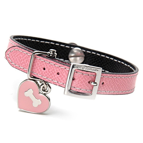 Pink & Black Leather Collar - Fifi & Romeo