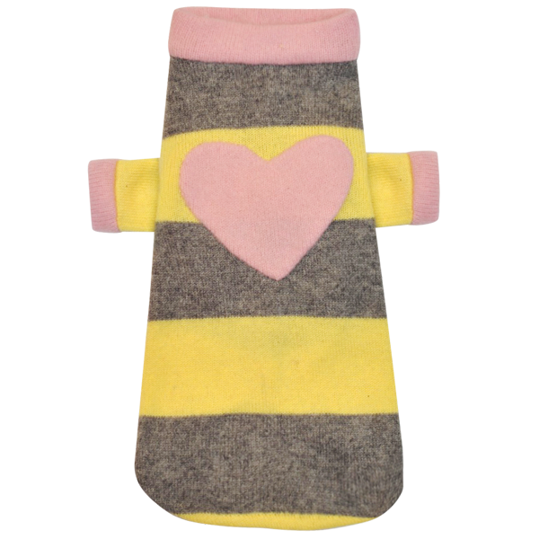 Yellow & Grey Heart Sweater - Fifi & Romeo