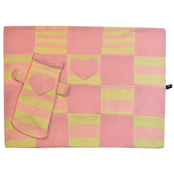 Yellow & Pink Heart Blanket - Fifi & Romeo