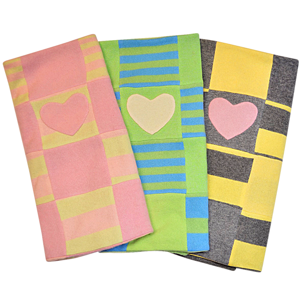 Yellow & Grey Heart Blanket - Fifi & Romeo