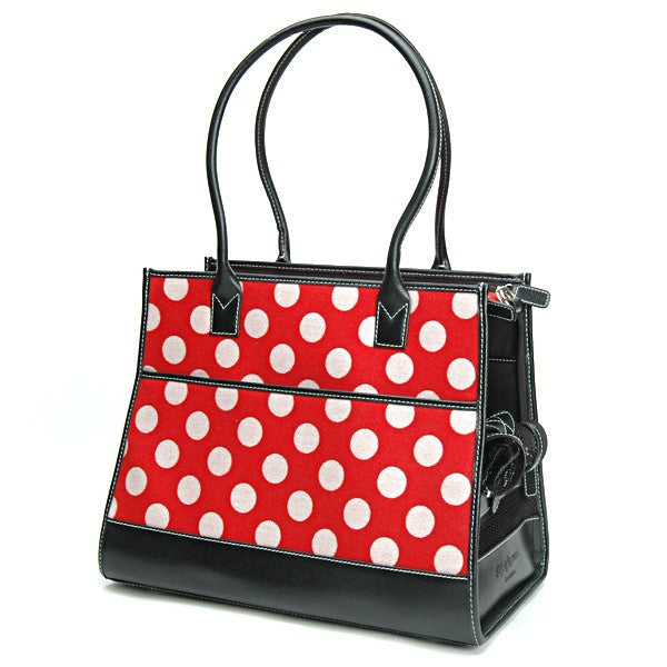 Red Polka Dot Wool & Black Leather Carrier - Fifi & Romeo