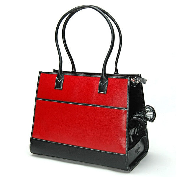 Red & Black Leather Carrier - Fifi & Romeo