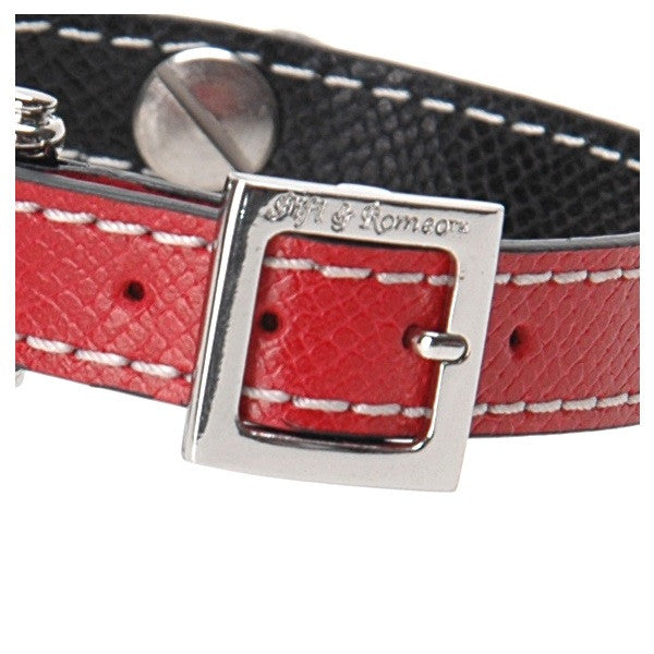Red & Black Leather Collar - Fifi & Romeo
