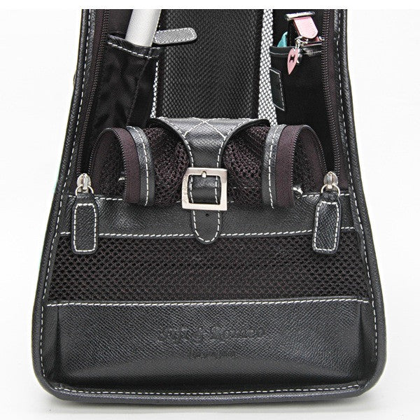 Black Wool Polka Dot & Black Leather Carrier - Fifi & Romeo