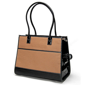 Camel Wool & Black Leather Carrier