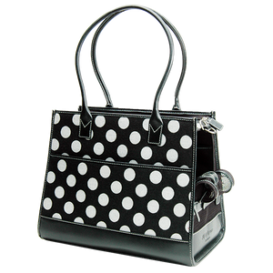 Black Wool Polka Dot & Black Leather Carrier