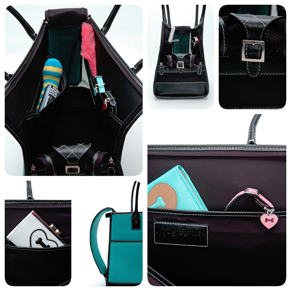 Fuschia Vintage Wool & Black Leather Carrier - Fifi & Romeo