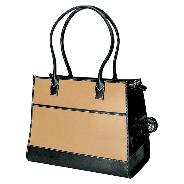 Camel & Black Leather Carrier - Fifi & Romeo