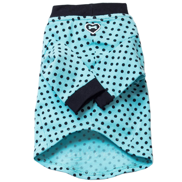 Heart & Bone Polka Dot Top - Aqua