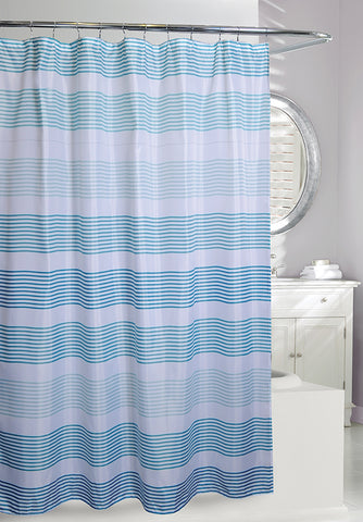Blue Scale Stripes Shower Curtain