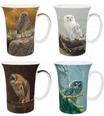 McIntosh Set of 4 Mugs - Robert Bateman, Owls
