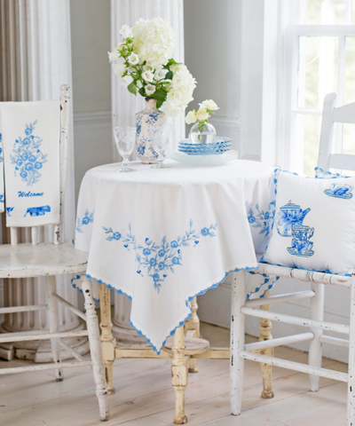 April Cornell Cafe Cloth, Embroidered Provence Blue