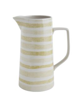 Stoneware Pitcher With Yellow Stripes