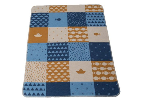 Maritime Baby Blanket, Blue and Gold