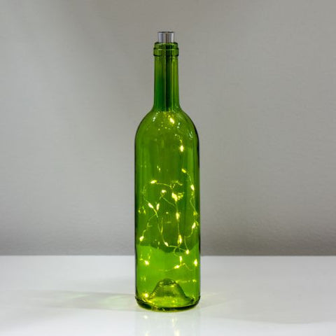 Wine Bottle with Lights, Green