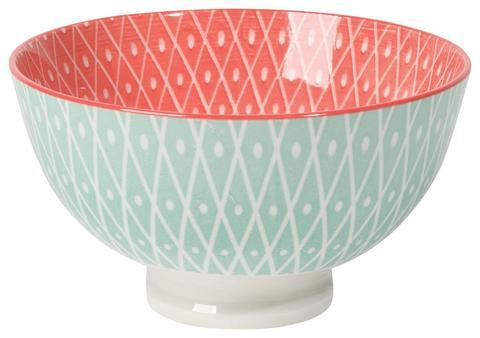 Stamped Small Bowl, Pink Geo