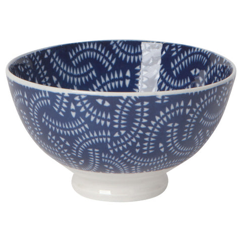 Stamped Small Bowl, Indigo Geo