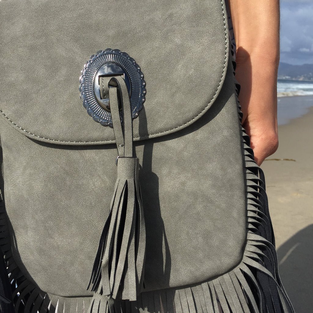 Vegan Leather Fringe Boho Bag