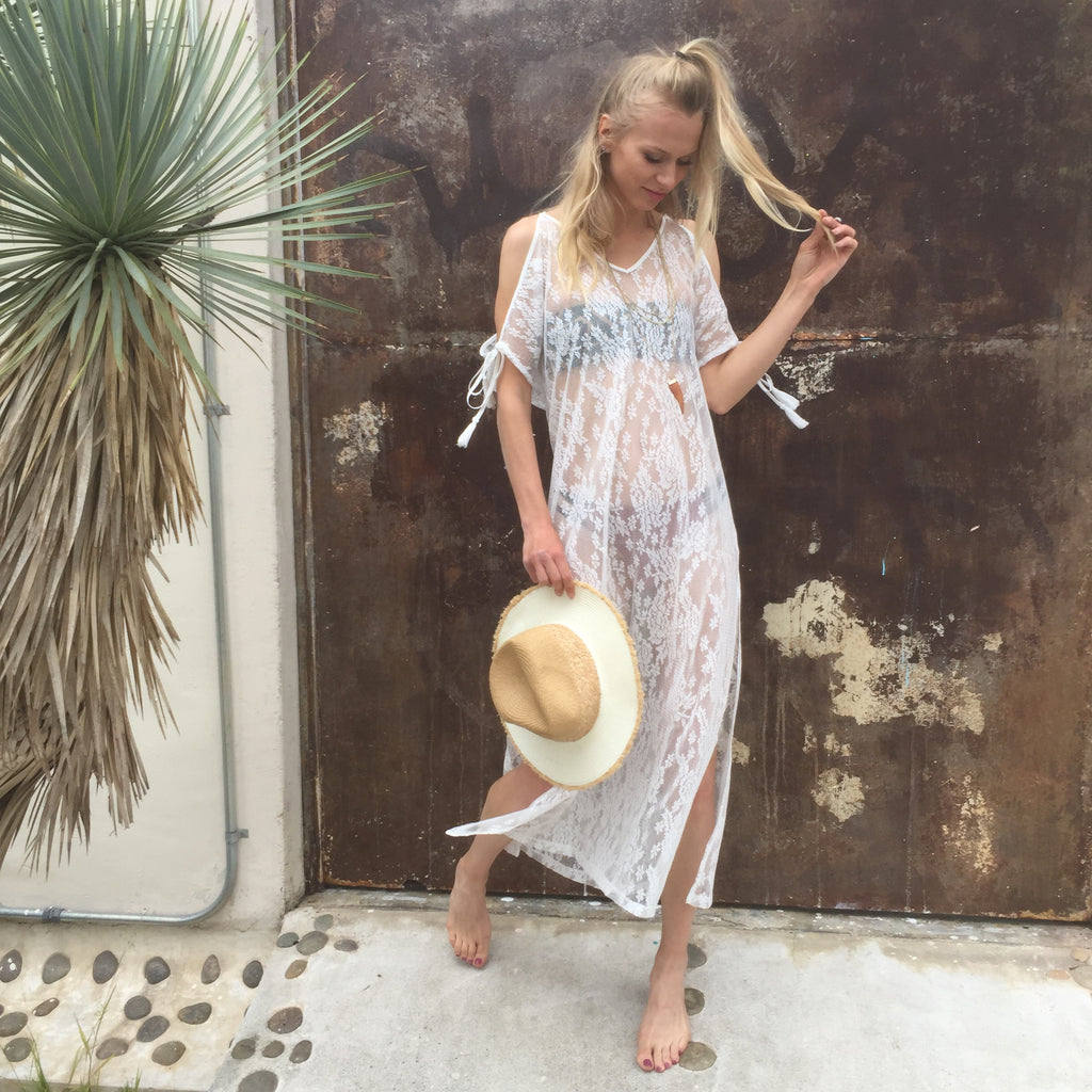 White Lace Boho Cover Up