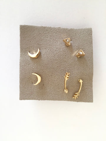 Gold Mini Studs Set