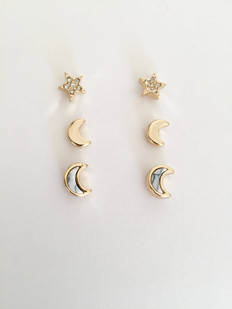 Moon and Star Stud Set