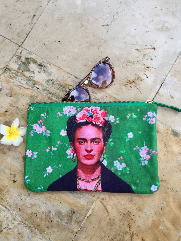 Frida Kalo Leather Zipper Pouch