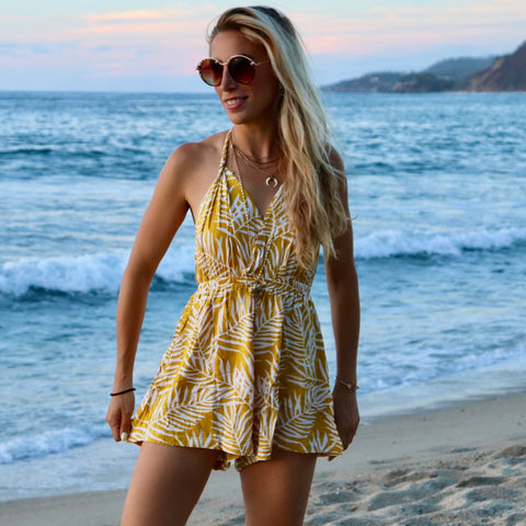 Yellow Palm Print Halter Romper