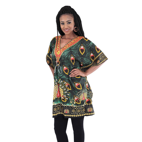 Drawstring Peacock Dashiki - LACS