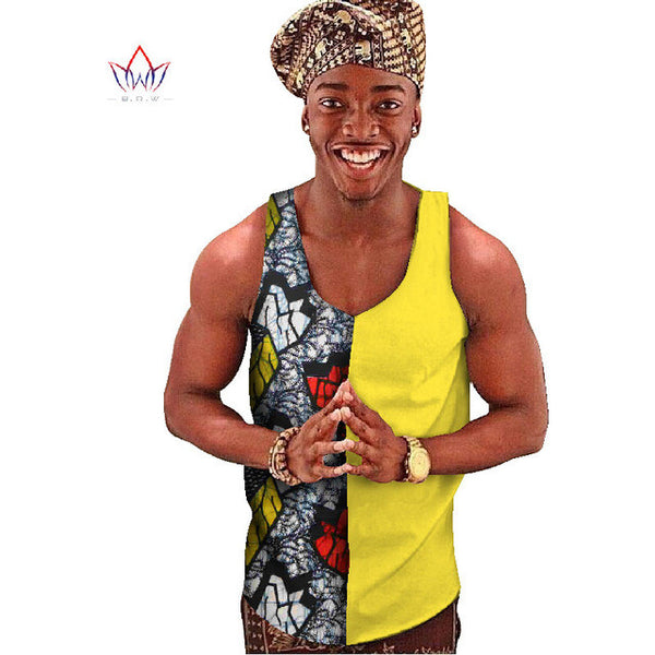Traditional Daishiki Print Men's Tank Top - LACS