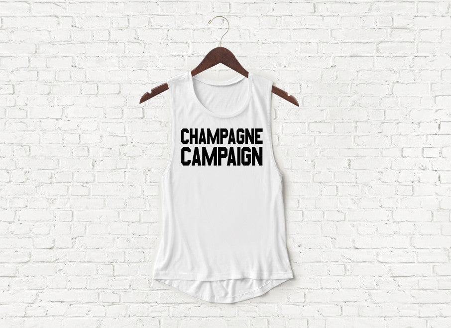 Champagne Campaign - Flowy Muscle Tank