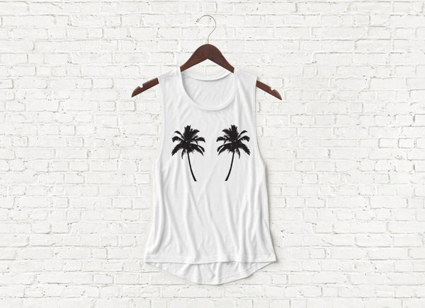 Palm Trees - Flowy Muscle Tank
