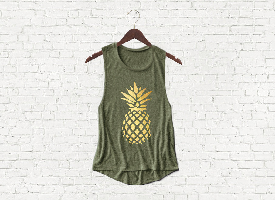 Gold Pineapple - Flowy Muscle Tank