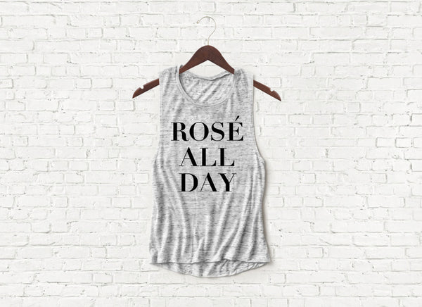 Rose All Day - Flowy Muscle Tank