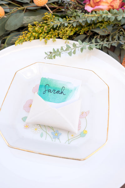 Love Ding Blog DIY Watercolor Name Tags Dinner Party Decor Floral