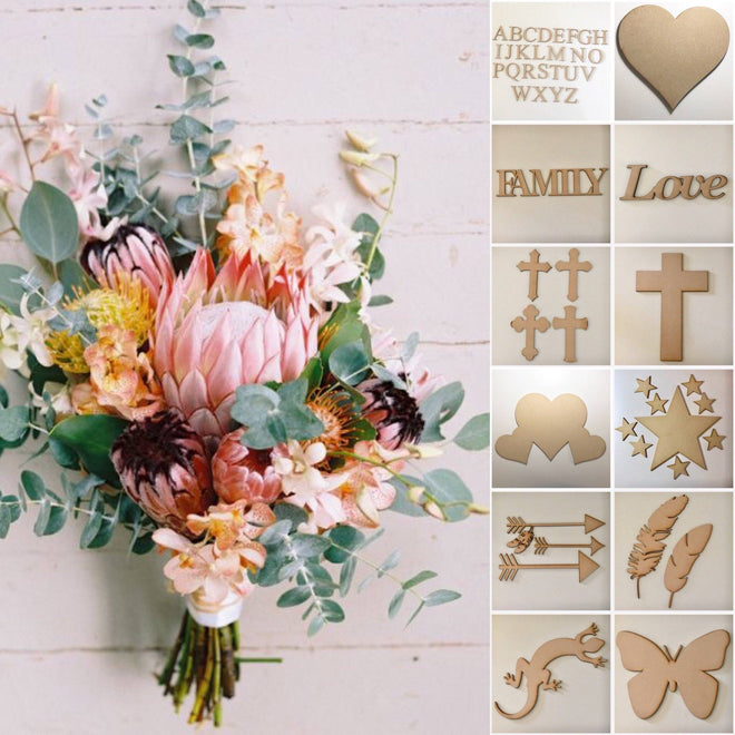 Wooden Acrylic DIY Art Craft Cut Outs Shapes Words