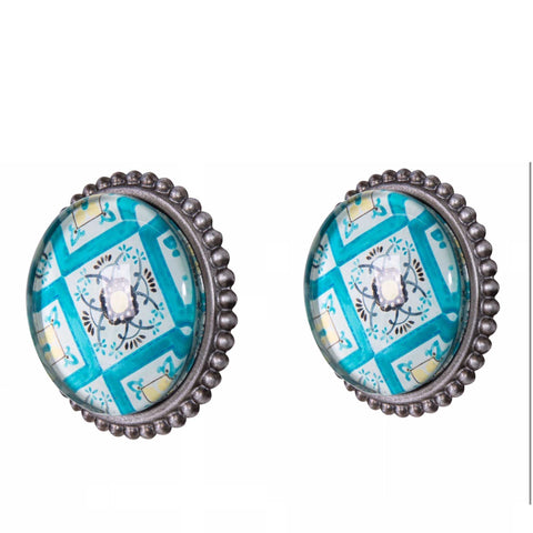 Knob DIY Set of 2 Silver Blue Antares | The Renmy Store