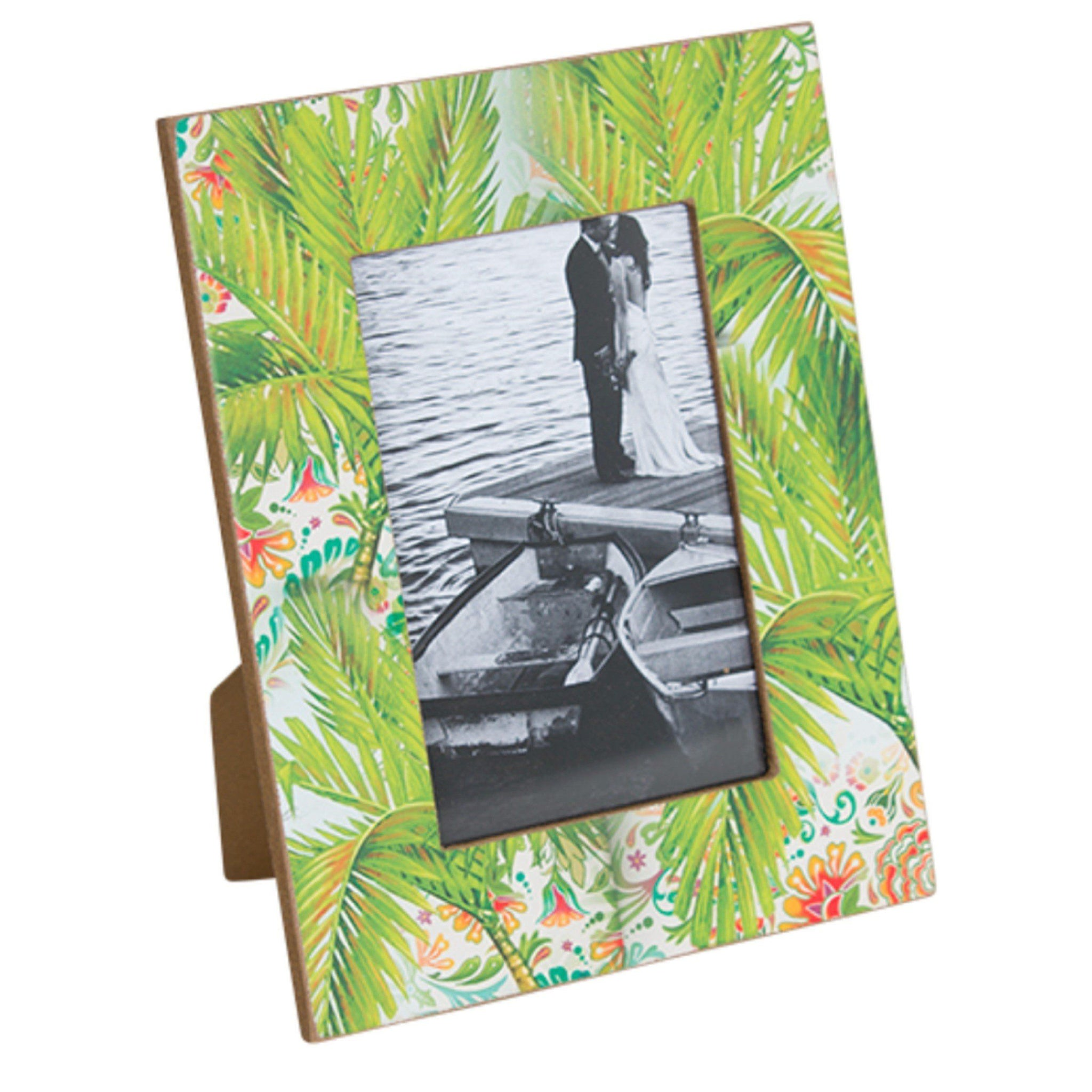 Photo Frame Wooden Tropical Beach House Green - Palm