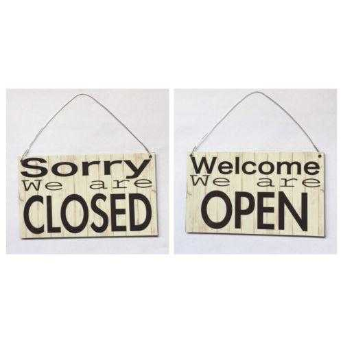 Open Closed Business Shop Cafe Hanging Sign Timber Look - The Renmy Store