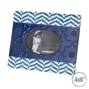 Photo Frame Royal Blue Metal Tin Patten Antique Vintage Retro Country - Royal - The Renmy Store