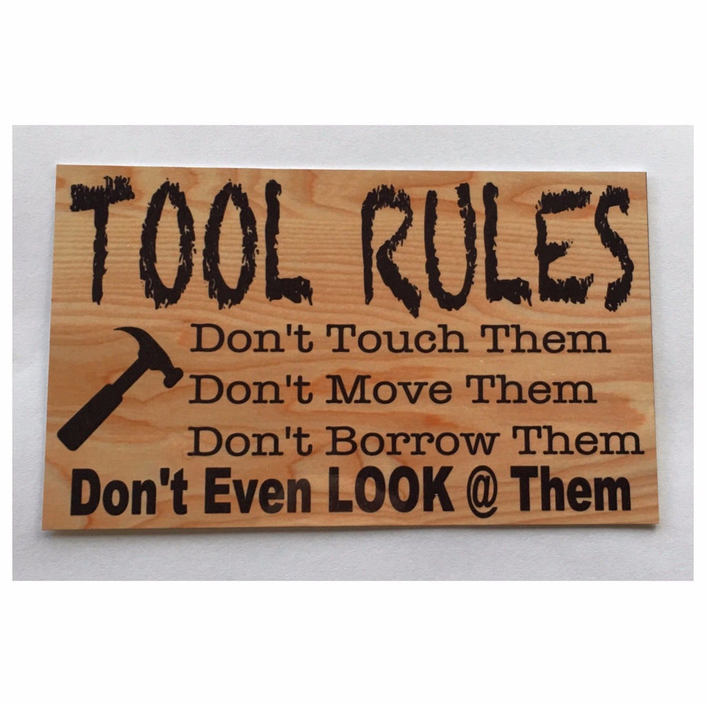 Tool Rules Man Shed Men Sign Room Wall Plaque Building Timber - The Renmy Store