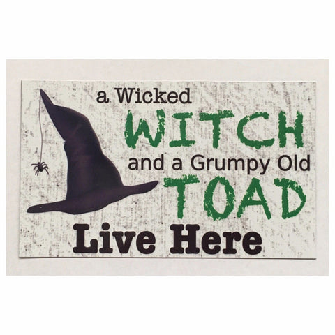 Wicked Witch & Grumpy Toad Live Here Sign Wall Plaque or Hanging Plaques & Signs The Renmy Store